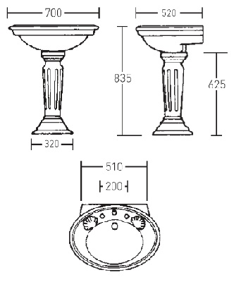 Умывальник на пьедестале Windsor от Imperial Bathrooms (WI1LB11030 + WI1PE01000)