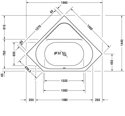 Ванна 140х140 Duravit D-Code 700137