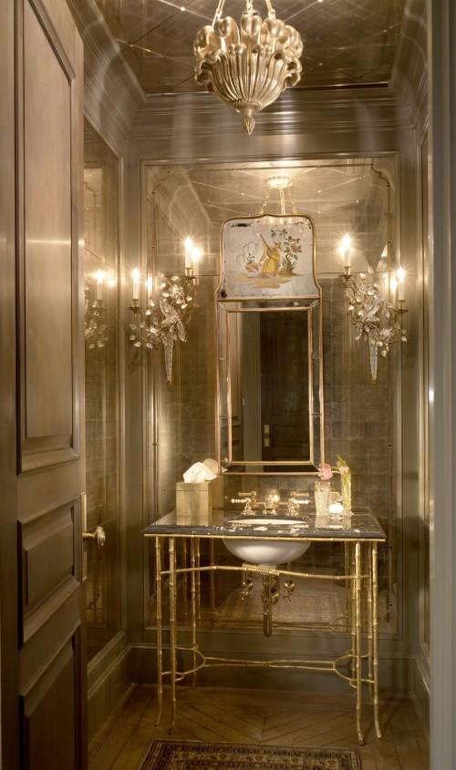 Гламурная ванная комната с классическими элементами, гламурна ванна кімната з класичними елементами