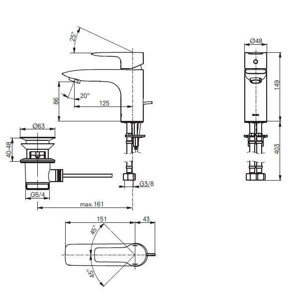 Смеситель для умывальника ТОТО МН Series VL10048C