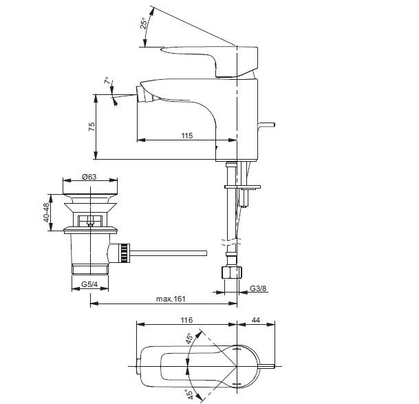 Смеситель для биде ТОТО МН Series VV10050C