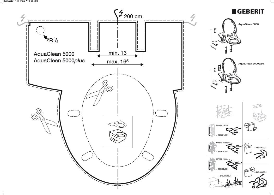 Багатофункціональне сидіння з кришкою для унітазу Geberit Aquaclean 5000 Plus (146.110.11.1)