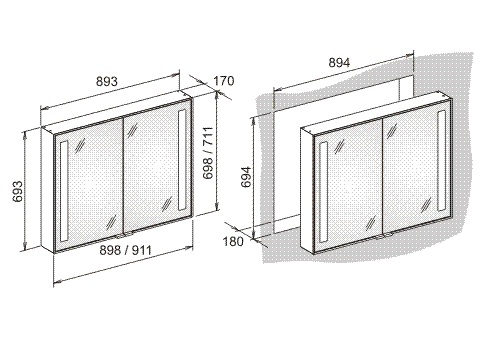 Дзеркальна шафа для вбудовування в стіну Keuco Royal Integral 26012171303