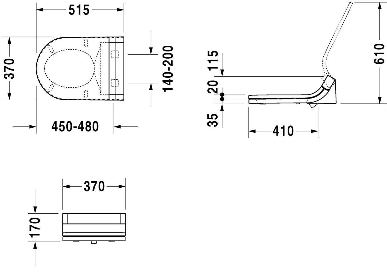 Сидіння для унітазу SensoWash Starck з прихованим підключенням 610001