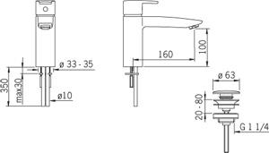 Змішувач для умивальника Oras Cubista 2805