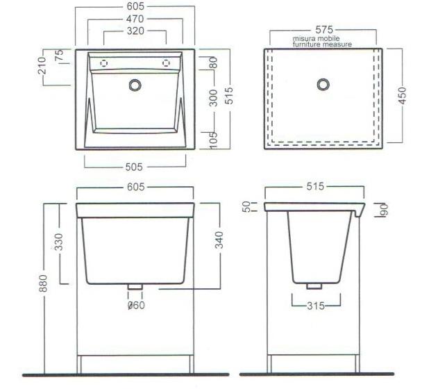 Тумба з умивальником для пральні 60.5x51.5 YXNX+YXMA